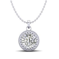 1 CTW VS/SI Diamond Solitaire Art Deco Necklace 18K White Gold - REF-292N5A - 36890