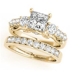 1.85 CTW Certified VS/SI Diamond 3 Stone Princess Cut 2Pc Set 14K Yellow Gold - REF-305Y5X - 32026