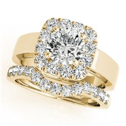 1.80 CTW Certified VS/SI Diamond 2Pc Wedding Set Solitaire Halo 14K Yellow Gold - REF-265A3V - 31228