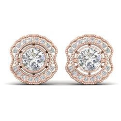 1.50 CTW Certified VS/SI Diamond Art Deco Stud Earrings 14K Rose Gold - REF-196W2H - 30541