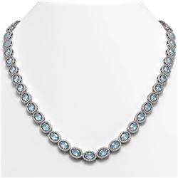 33.25 CTW Sky Topaz & Diamond Necklace White Gold 10K White Gold - REF-501H5M - 40430