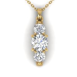 1.25 CTW Certified VS/SI Diamond Art Deco 3 Stone Necklace 14K Yellow Gold - REF-193M3F - 30482