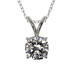 0.50 CTW Certified VS/SI Quality Cushion Cut Diamond Necklace 10K White Gold - REF-79F5N - 33169