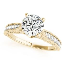 0.98 CTW Certified VS/SI Diamond Solitaire Antique Ring 18K Yellow Gold - REF-205Y8X - 27356