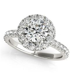 1.50 CTW Certified VS/SI Diamond Solitaire Halo Ring 18K White Gold - REF-230W2H - 26296