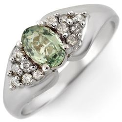 0.90 CTW Green Sapphire & Diamond Ring 10K White Gold - REF-36Y4X - 10741