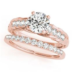 1.29 CTW Certified VS/SI Diamond Solitaire 2Pc Wedding Set 14K Rose Gold - REF-374F9N - 31650