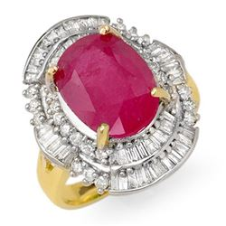 5.75 CTW Ruby & Diamond Ring 14K Yellow Gold - REF-118V7Y - 12901