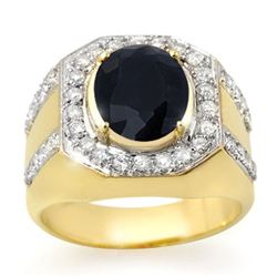 5.75 CTW Sapphire & Diamond Men's Ring 10K Yellow Gold - REF-118Y2X - 14497