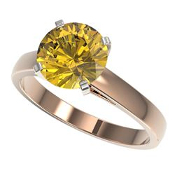 2.50 CTW Certified Intense Yellow SI Diamond Solitaire Ring 10K Rose Gold - REF-579N2A - 33048