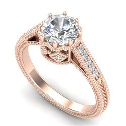 1.25 CTW VS/SI Diamond Solitaire Art Deco Ring 18K Rose Gold - REF-400V2Y - 36906