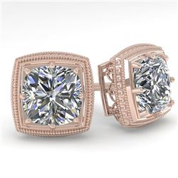 1.0 CTW VS/SI Cushion Cut Diamond Stud Solitaire Earrings Deco 18K Rose Gold - REF-187X5R - 35963