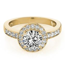 1.20 CTW Certified VS/SI Diamond Solitaire Halo Ring 18K Yellow Gold - REF-214K5W - 26969