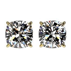 2 CTW Certified VS/SI Quality Cushion Cut Diamond Stud Earrings 10K Yellow Gold - REF-585A2V - 33099
