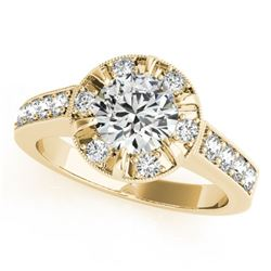 2 CTW Certified VS/SI Diamond Solitaire Halo Ring 18K Yellow Gold - REF-471H5M - 27041