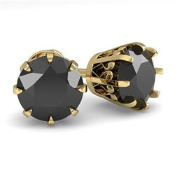 3.0 CTW Black Diamond Stud Solitaire Earrings 18K Yellow Gold - REF-105W5H - 35704