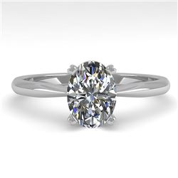 1 CTW Oval Cut VS/SI Diamond Engagement Designer Ring 18K White Gold - REF-280H3M - 32406