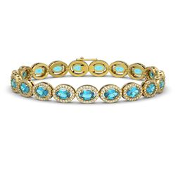 14.82 CTW Swiss Topaz & Diamond Bracelet Yellow Gold 10K Yellow Gold - REF-230R4K - 40486