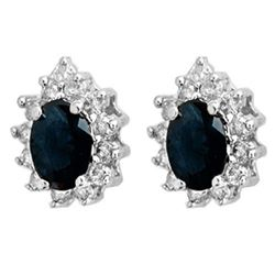 5.46 CTW Blue Sapphire & Diamond Earrings 18K White Gold - REF-100F7N - 12874