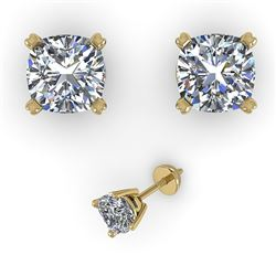 1.0 CTW Cushion Cut VS/SI Diamond Stud Designer Earrings 18K Yellow Gold - REF-180M2F - 32287