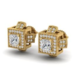 1.73 CTW Princess VS/SI Diamond Micro Pave Stud Earrings 18K Yellow Gold - REF-254N5A - 37186