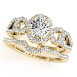 1.55 CTW Certified VS/SI Diamond 2Pc Wedding Set Solitaire Halo 14K Yellow Gold - REF-389W3H - 31084