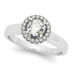 0.65 CTW Certified VS/SI Diamond Solitaire Halo Ring 18K White Gold - REF-118A5V - 26152