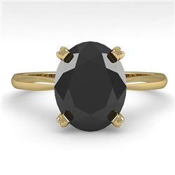 5.0 CTW Oval Black Diamond Engagement Designer Ring 18K Yellow Gold - REF-143A8V - 32452