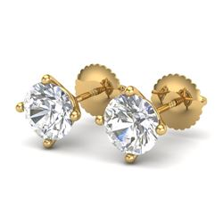 2 CTW VS/SI Diamond Solitaire Art Deco Stud Earrings 18K Yellow Gold - REF-591R2K - 37306