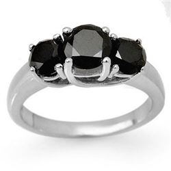 2.50 CTW VS Certified Black & White Diamond 3 Stone Ring 18K White Gold - REF-83W3H - 13498
