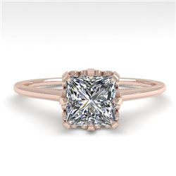 1.0 CTW VS/SI Princess Diamond Solitaire Engagement Ring size 7 18K Rose Gold - REF-322M5F - 35750