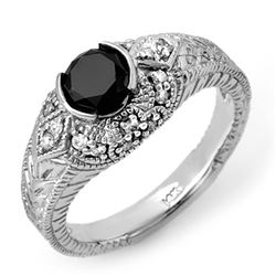 1.20 CTW VS Certified Black & White Diamond Ring 14K White Gold - REF-72A5V - 11806