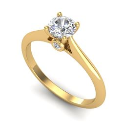 0.56 CTW VS/SI Diamond Solitaire Art Deco Ring 18K Yellow Gold - REF-106W7H - 37282