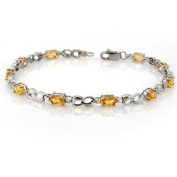 3.51 CTW Yellow Sapphire & Diamond Bracelet 18K White Gold - REF-57H6M - 11036