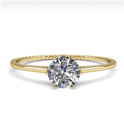 0.51 CTW Certified VS/SI Diamond Engagement Ring 18K Yellow Gold - REF-96A7V - 35884