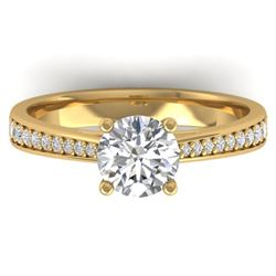 1.26 CTW Certified VS/SI Diamond Solitaire Art Deco Ring 14K Yellow Gold - REF-352W4H - 30386