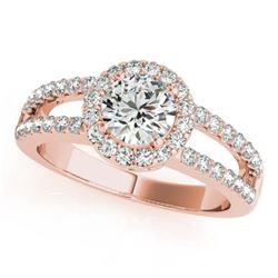 1.26 CTW Certified VS/SI Diamond Solitaire Halo Ring 18K Rose Gold - REF-224H5M - 26432