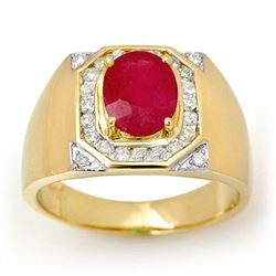 3.60 CTW Ruby & Diamond Men's Ring 14K Yellow Gold - REF-104V5Y - 13481