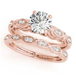 0.52 CTW Certified VS/SI Diamond Solitaire 2Pc Wedding Set Antique 14K Rose Gold - REF-84F2N - 31491