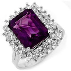 4.75 CTW Amethyst & Diamond Ring 18K White Gold - REF-84R7K - 11110