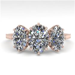 2 CTW Solitaire Past Present Future VS/SI Oval Cut Diamond Ring 18K Rose Gold - REF-414F2N - 35780