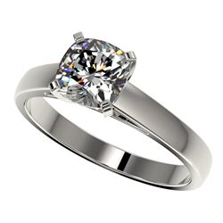 1.25 CTW Certified VS/SI Quality Cushion Cut Diamond Solitaire Ring 10K White Gold - REF-372F3N - 33