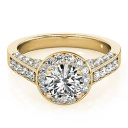 1.80 CTW Certified VS/SI Diamond Solitaire Halo Ring 18K Yellow Gold - REF-425K3W - 26786