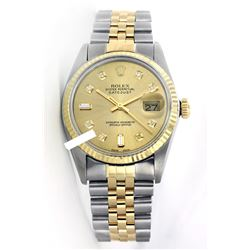 Rolex Men's Two Tone 14K Gold/SS, QuickSet, Diamond Dial with Fluted Bezel - REF-443H2W