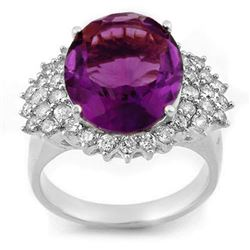 8.18 CTW Amethyst & Diamond Ring 18K White Gold - REF-129W3H - 11160