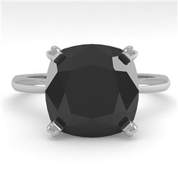 6.0 CTW Cushion Black Diamond Engagement Designer Ring Size 7 14K White Gold - REF-142R2K - 38488