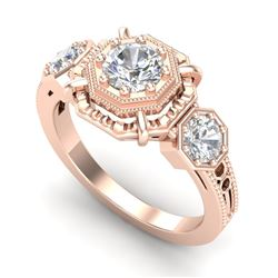 1.01 CTW VS/SI Diamond Solitaire Art Deco 3 Stone Ring 18K Rose Gold - REF-200N2A - 36882