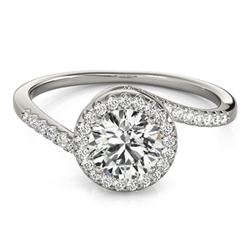 0.75 CTW Certified VS/SI Diamond Bypass Solitaire Ring 18K White Gold - REF-114R5K - 27654