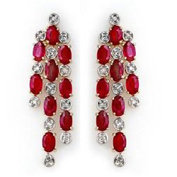 4.03 CTW Ruby & Diamond Earrings 14K Yellow Gold - REF-109A3V - 14200