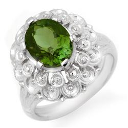 3.0 CTW Green Tourmaline Ring 10K White Gold - REF-58X2R - 10244